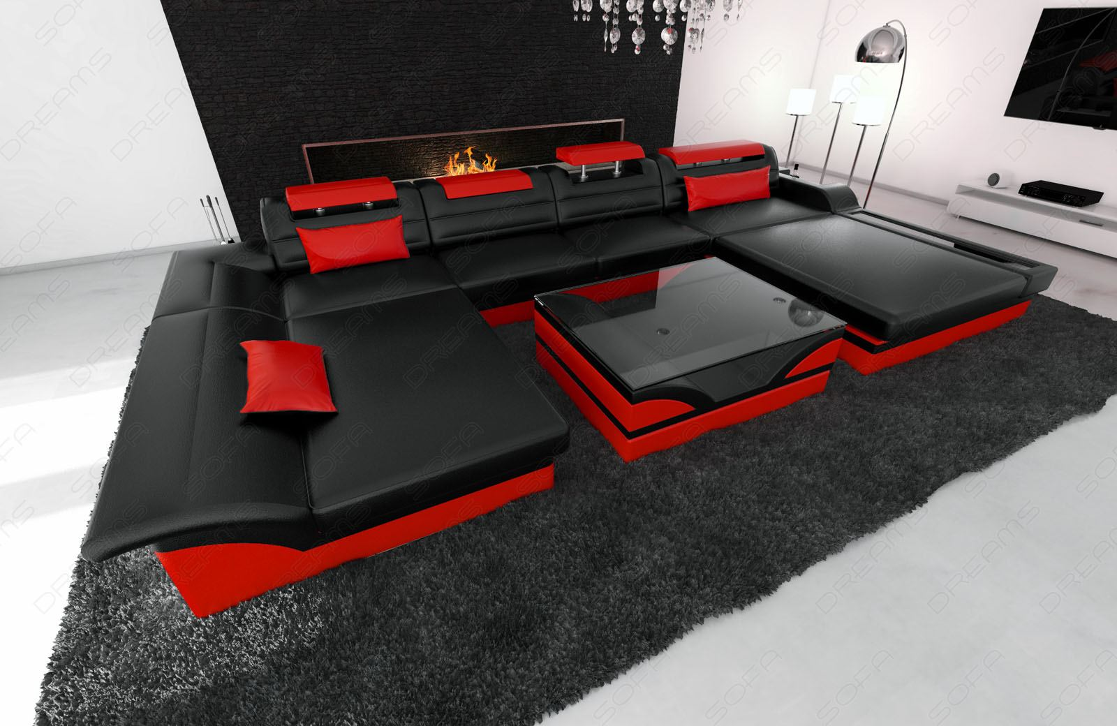 wohnlandschaft monza u leder designsofa mit led beleuchtung ottomane luxuscouch ebay. Black Bedroom Furniture Sets. Home Design Ideas