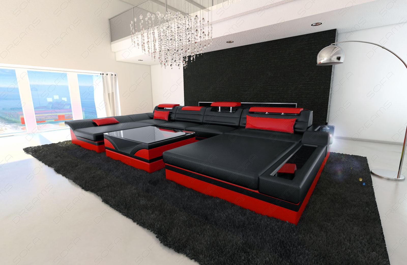 Couch u form  Big Sectional Sofa MONZA U-Shaped with LED Lights black red | eBay