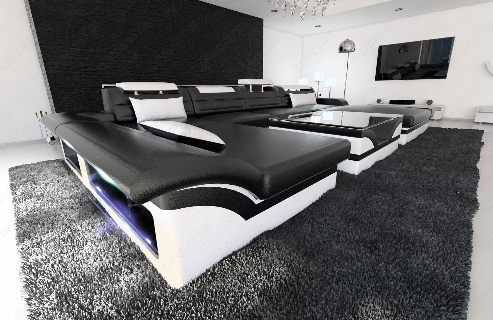 big sectional sofa monza u shaped with led lights black white. Black Bedroom Furniture Sets. Home Design Ideas