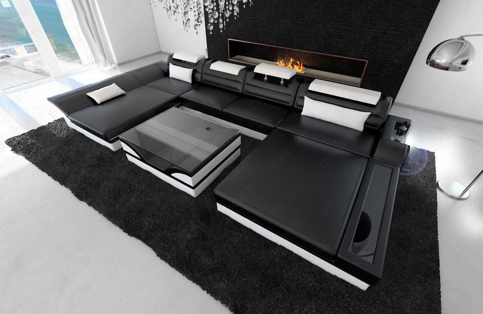 big sectional sofa monza u shaped with led lights black white ebay. Black Bedroom Furniture Sets. Home Design Ideas