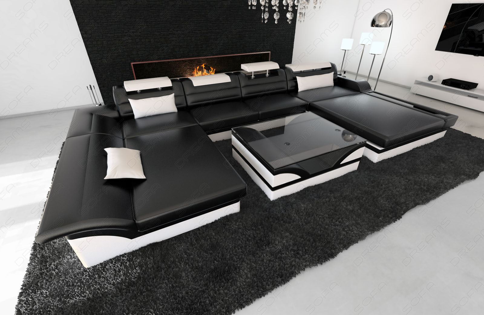 ledersofa xxl monza u form designer ledercouch mit led. Black Bedroom Furniture Sets. Home Design Ideas