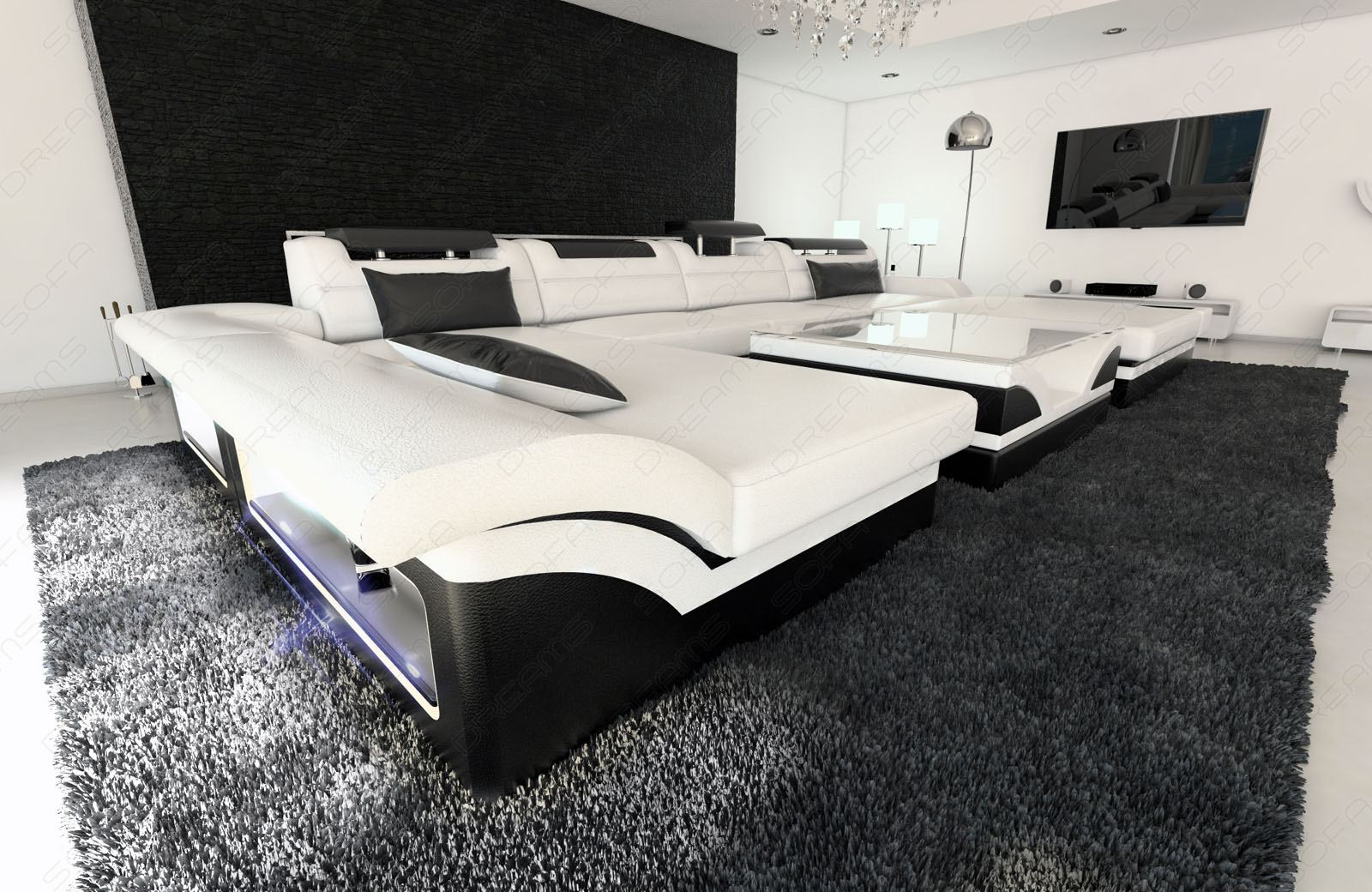 big sectional sofa monza u shaped with led lights white black ebay. Black Bedroom Furniture Sets. Home Design Ideas