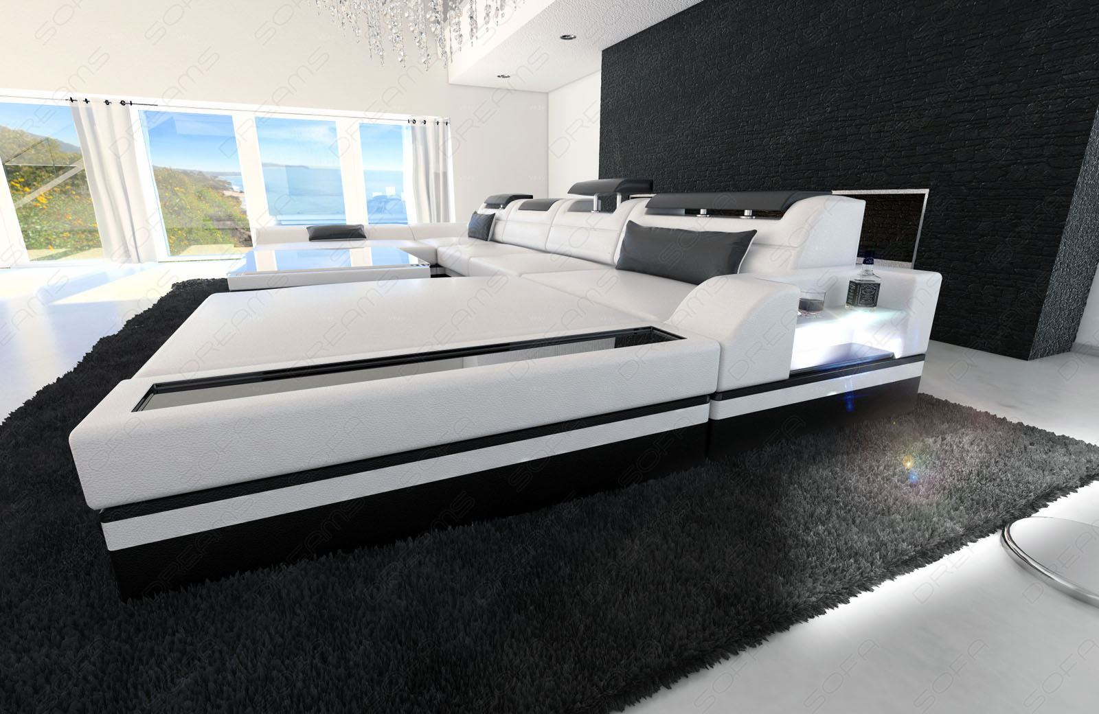 xxl leather sectional sofa monza u shaped cornersofa with led lights. Black Bedroom Furniture Sets. Home Design Ideas
