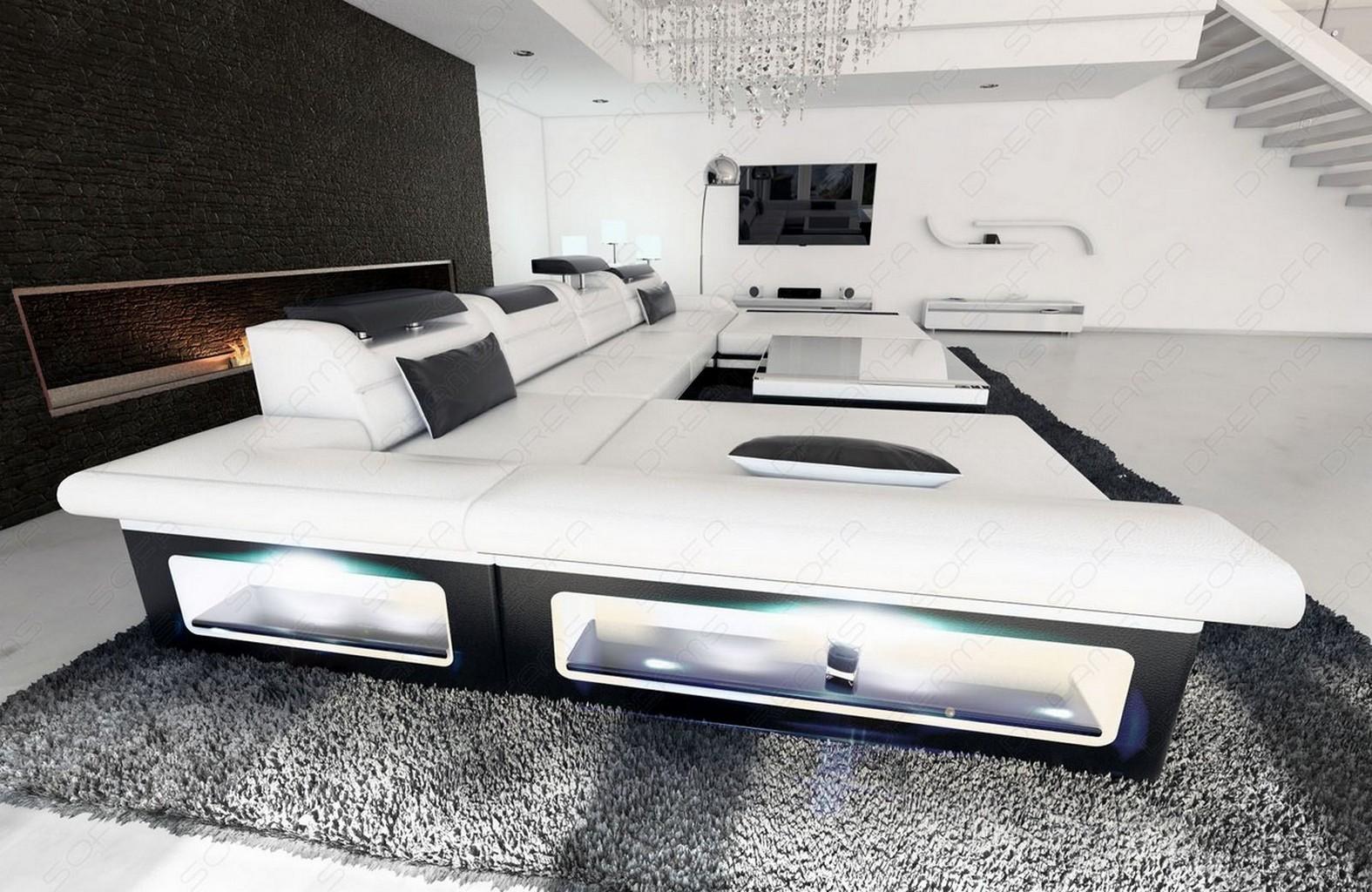 designersofa monza xxl with led lighting bigsofa white black ebay. Black Bedroom Furniture Sets. Home Design Ideas