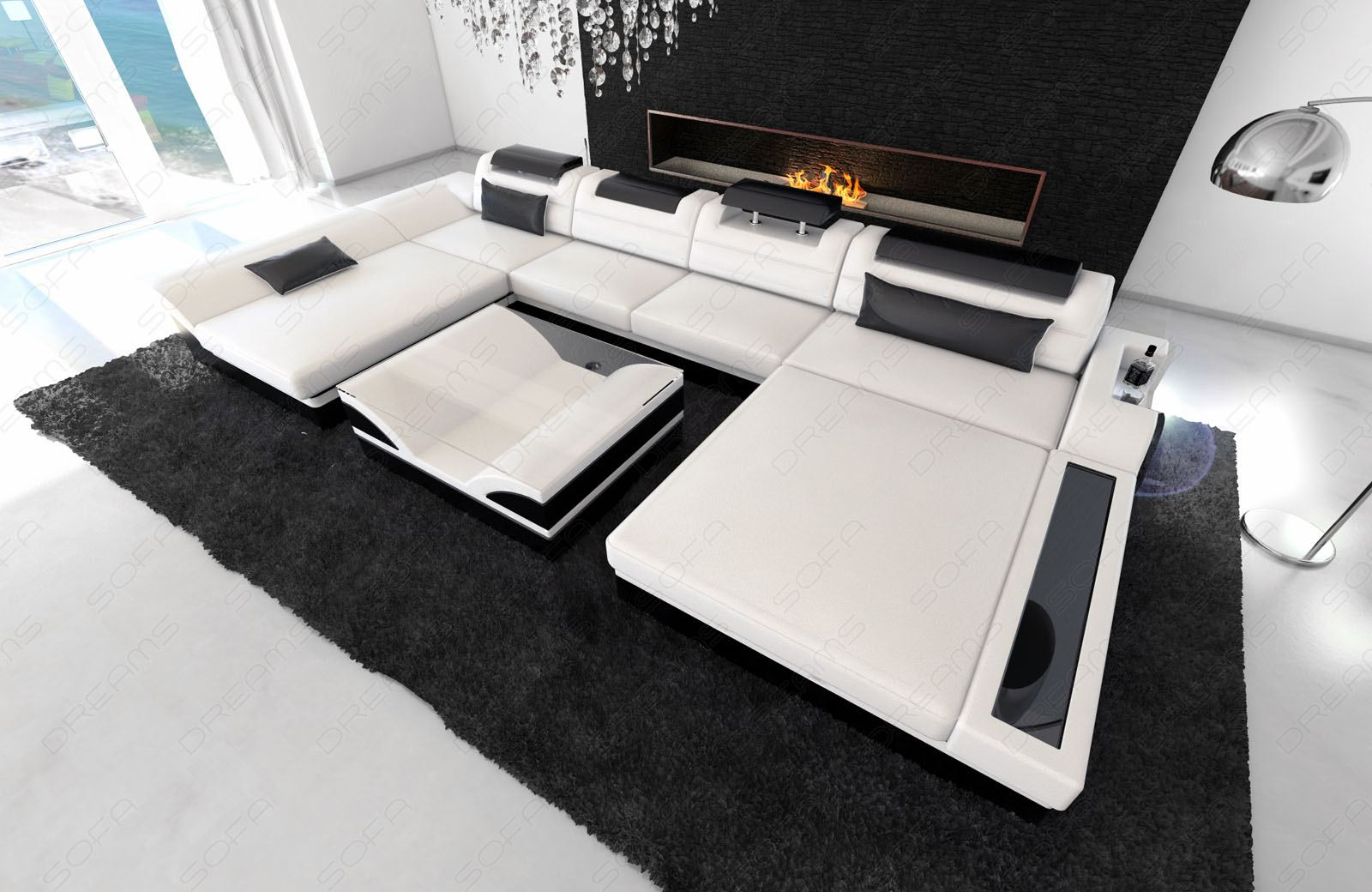 big sectional sofa monza u shaped with led lights white. Black Bedroom Furniture Sets. Home Design Ideas