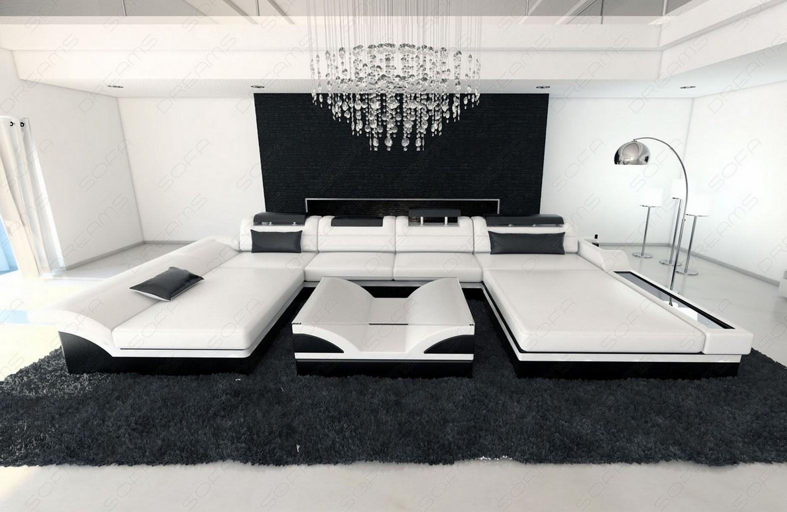 big sectional sofa monza u shaped with led lights white. Black Bedroom Furniture Sets. Home Design Ideas