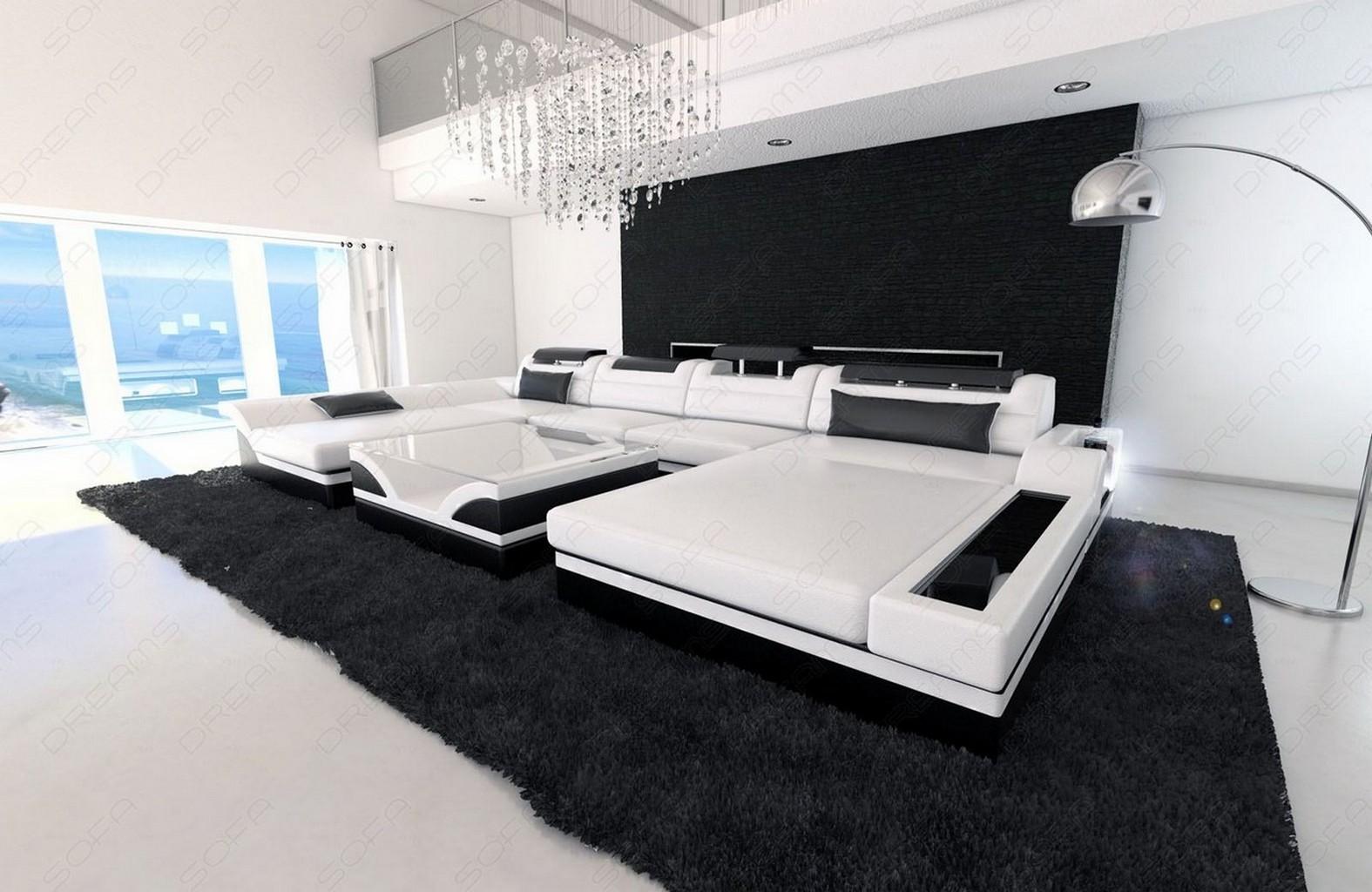 Big Sectional Sofa MONZA U-Shaped with LED Lights white black  eBay