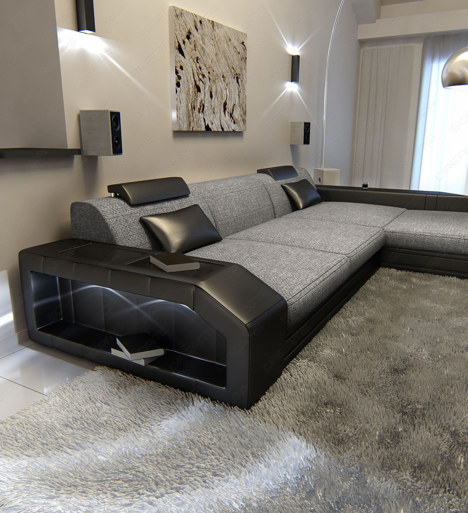fabric sofa prato l shaped textured fabric sofa grey. Black Bedroom Furniture Sets. Home Design Ideas