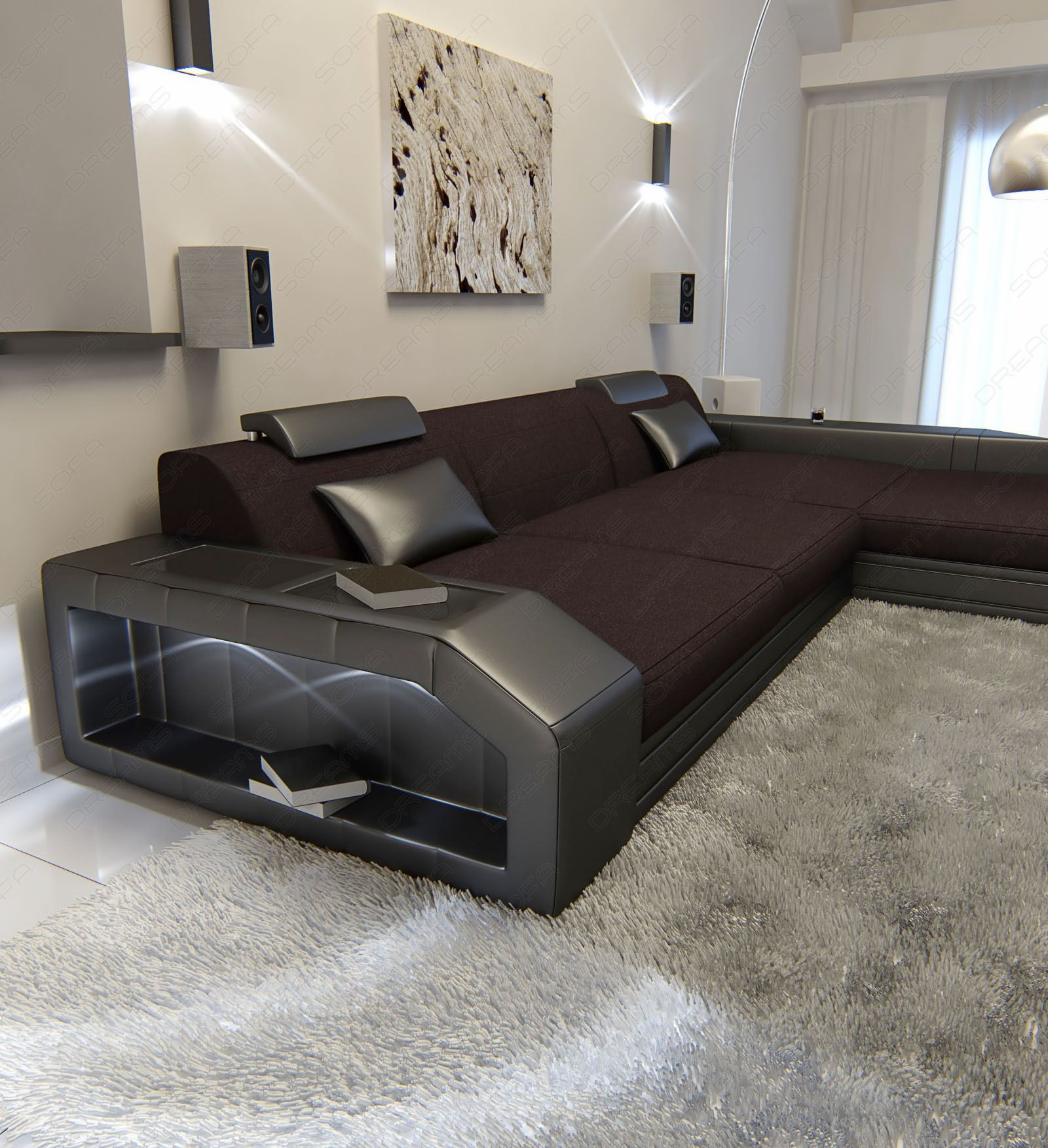 Upholstery fabric sofa prato l shaped with led lighting for Sofa xxl l form