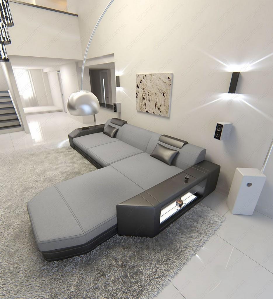stoffsofa prato l form design polstersofa luxus couch ottomane beleuchtung grau ebay. Black Bedroom Furniture Sets. Home Design Ideas