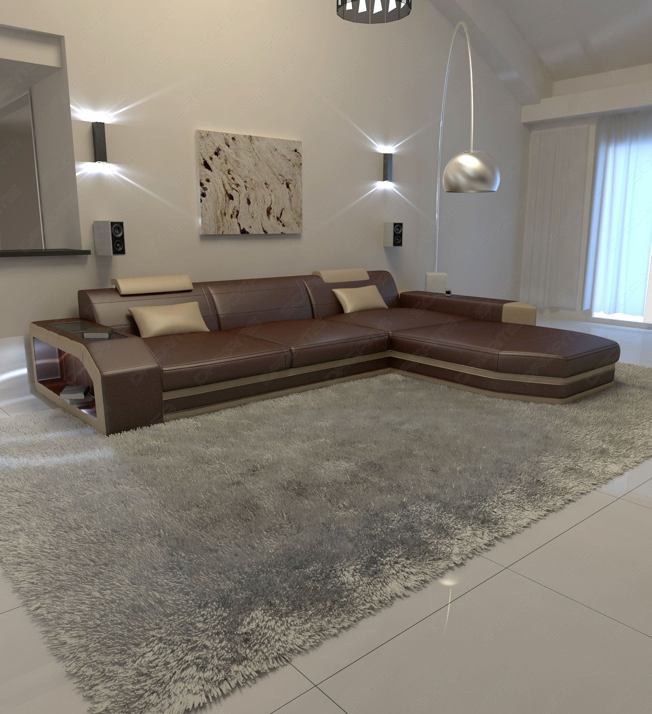 modern l shaped sofa prato with led lights leathersofa. Black Bedroom Furniture Sets. Home Design Ideas