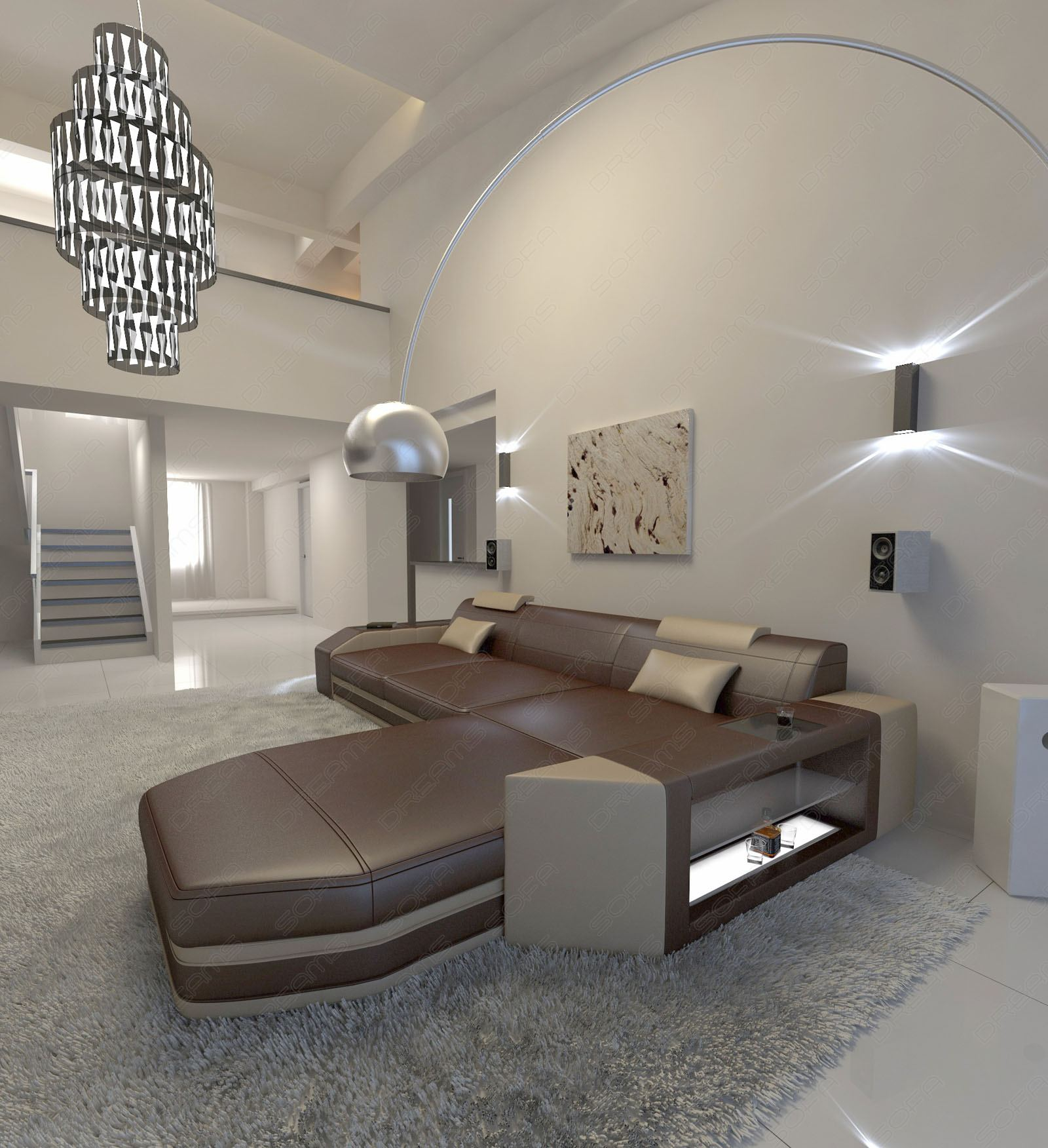 ecksofa design couch wohnlandschaft prato l form mit led beleuchtung ledercouch ebay. Black Bedroom Furniture Sets. Home Design Ideas