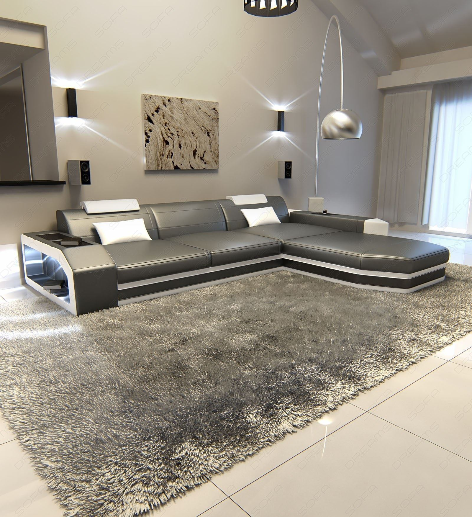 ledersofa ecksofa prato l form mit led eckcouch ledercouch grau weiss lagerware ebay. Black Bedroom Furniture Sets. Home Design Ideas