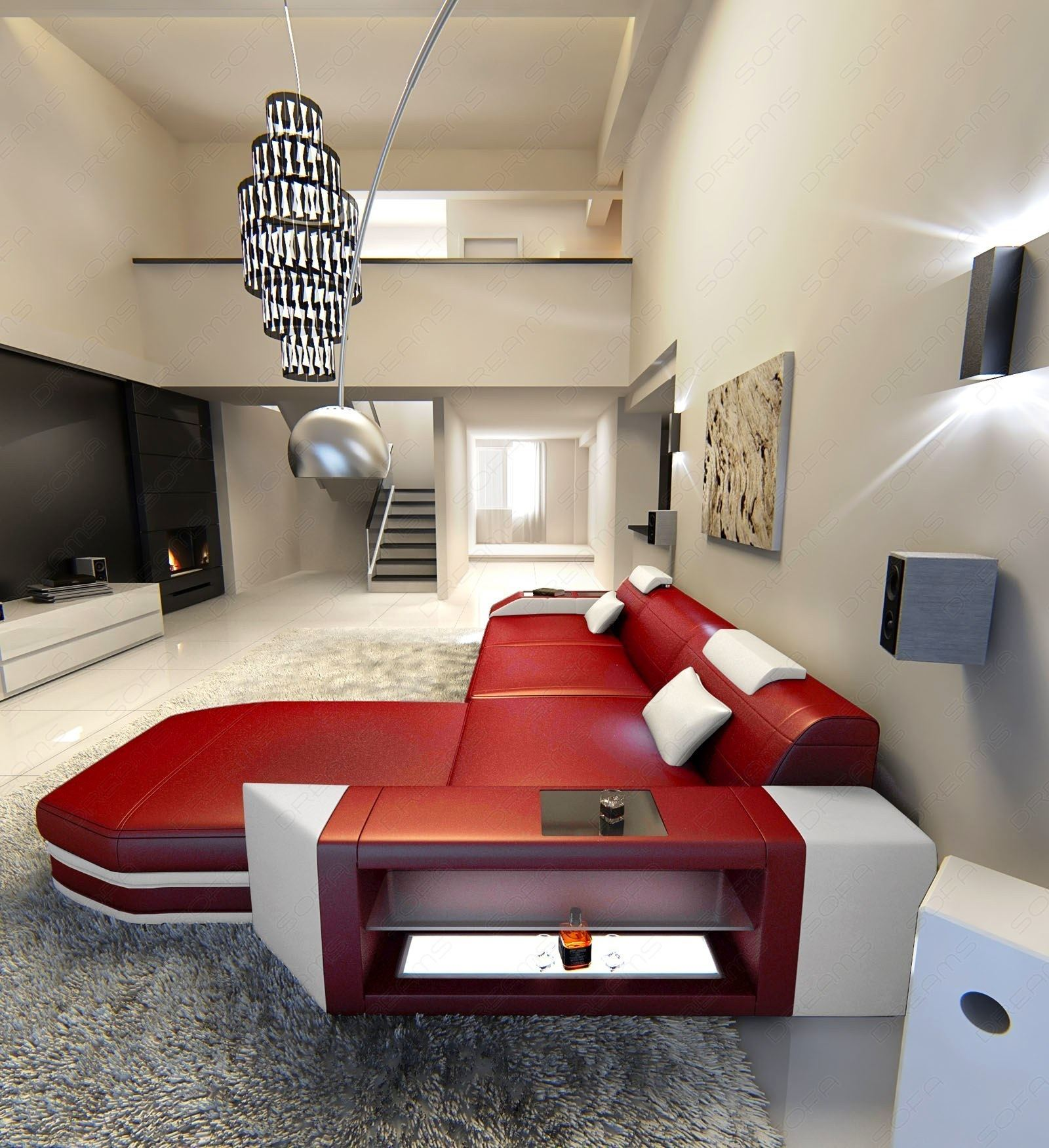Modern L Shaped Sofa PRATO with LED Lights Leathersofa red white