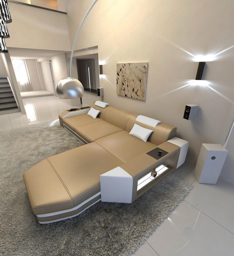 ecksofa design couch wohnlandschaft prato l form mit led beleuchtung ledercouch ebay. Black Bedroom Furniture Sets. Home Design Ideas