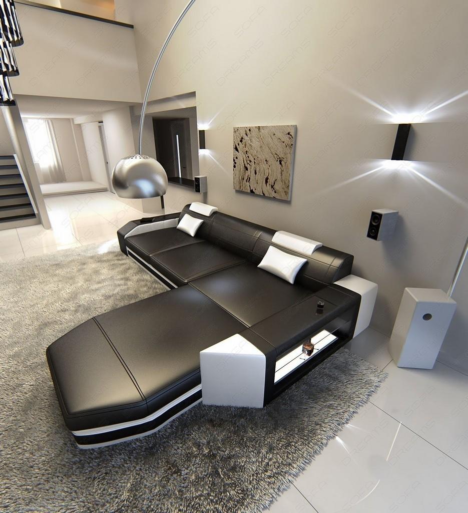 ledercouch prato l form mit led licht design ecksofa schwarz weiss lagerware. Black Bedroom Furniture Sets. Home Design Ideas