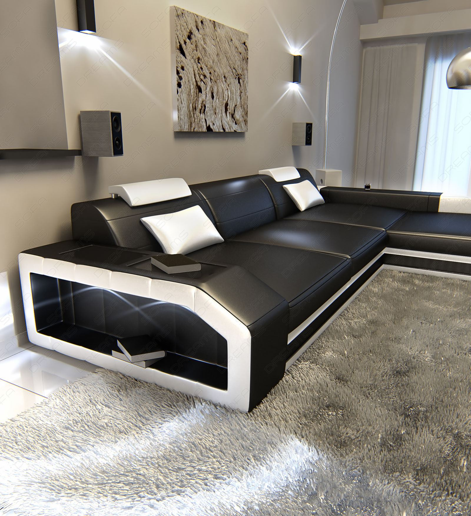 Wohnlandschaft l form  Modern L-Shaped Sofa PRATO with LED Lights Leathersofa black white ...