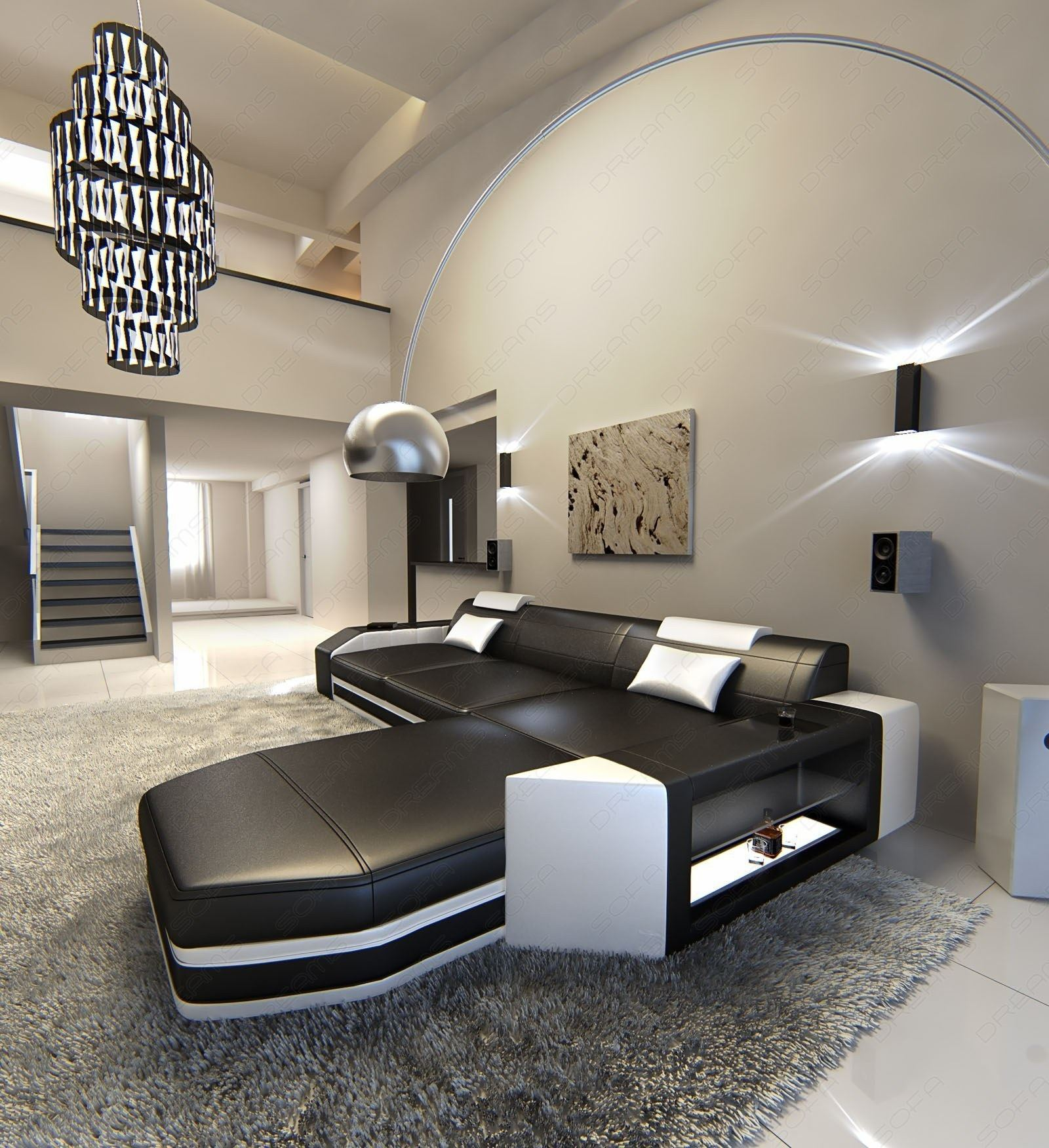 Riesensofa  Modern L-Shaped Sofa PRATO with LED Lights Leathersofa black white ...