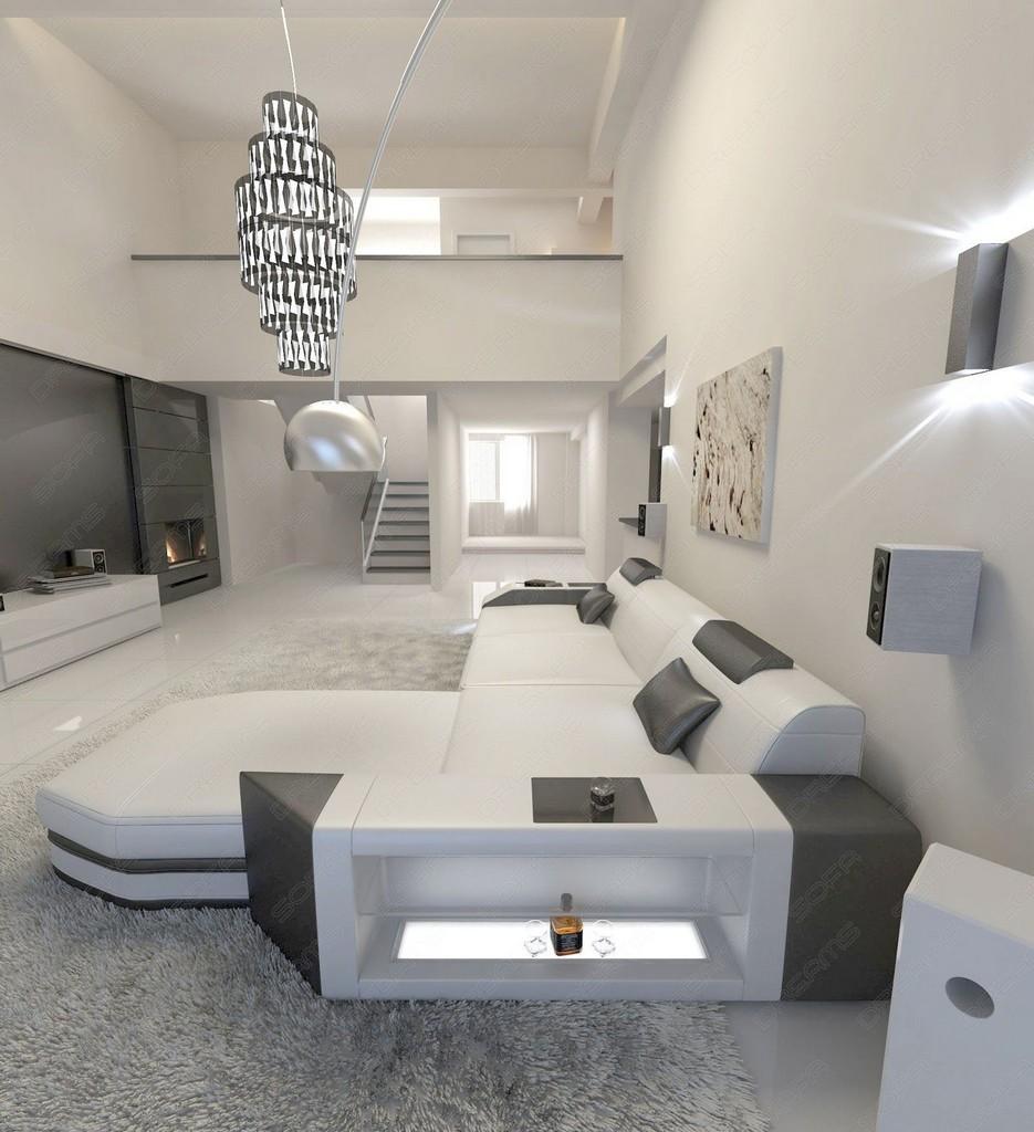 wohnlandschaft design prato l form mit beleuchtung weiss schwarz ebay. Black Bedroom Furniture Sets. Home Design Ideas