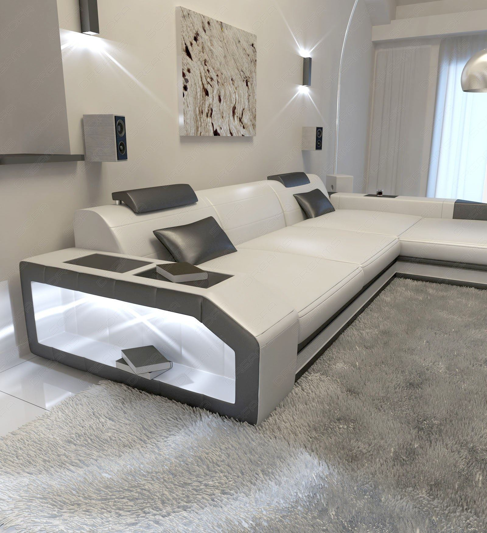 modern l shaped sofa prato with led lights leathersofa white black ebay. Black Bedroom Furniture Sets. Home Design Ideas