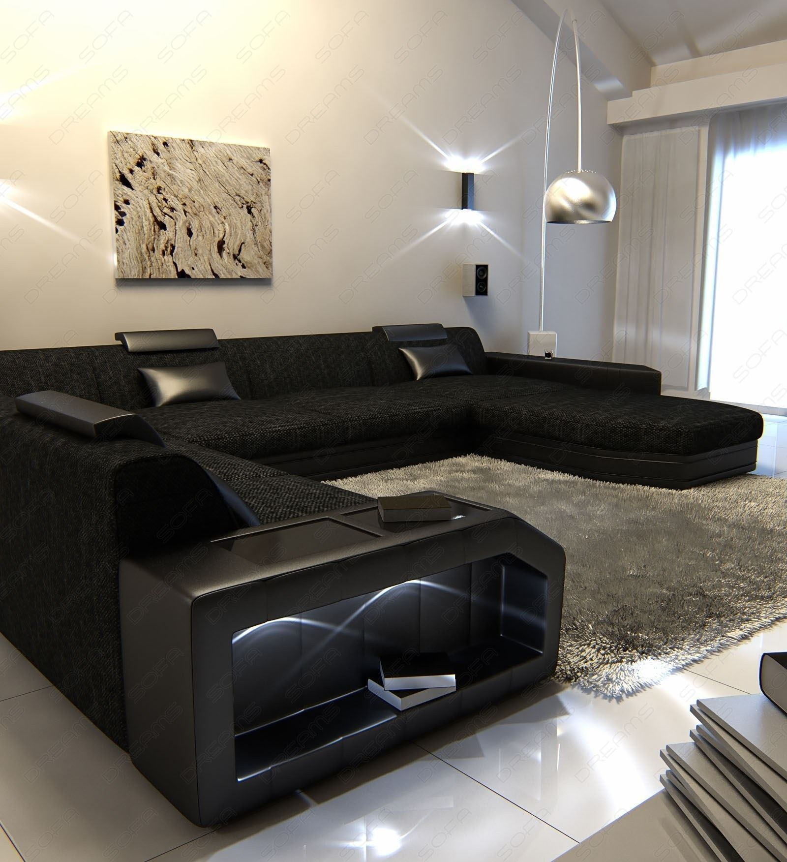 fabric sectional sofa prato xxl design sofa with led lighting rgb. Black Bedroom Furniture Sets. Home Design Ideas