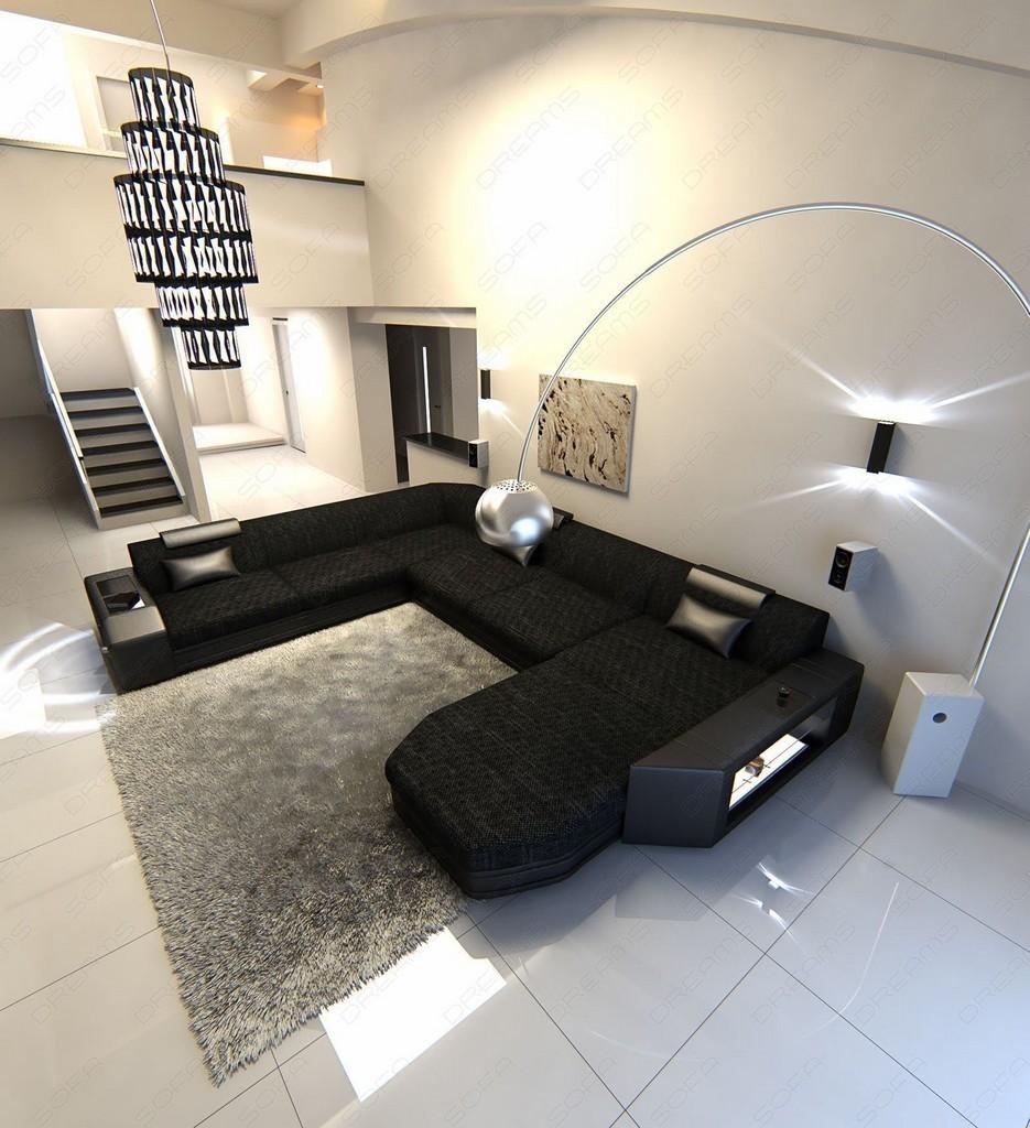 wohnlandschaft prato xxl strukturstoff design couch luxus sofa ottomane schwarz ebay. Black Bedroom Furniture Sets. Home Design Ideas