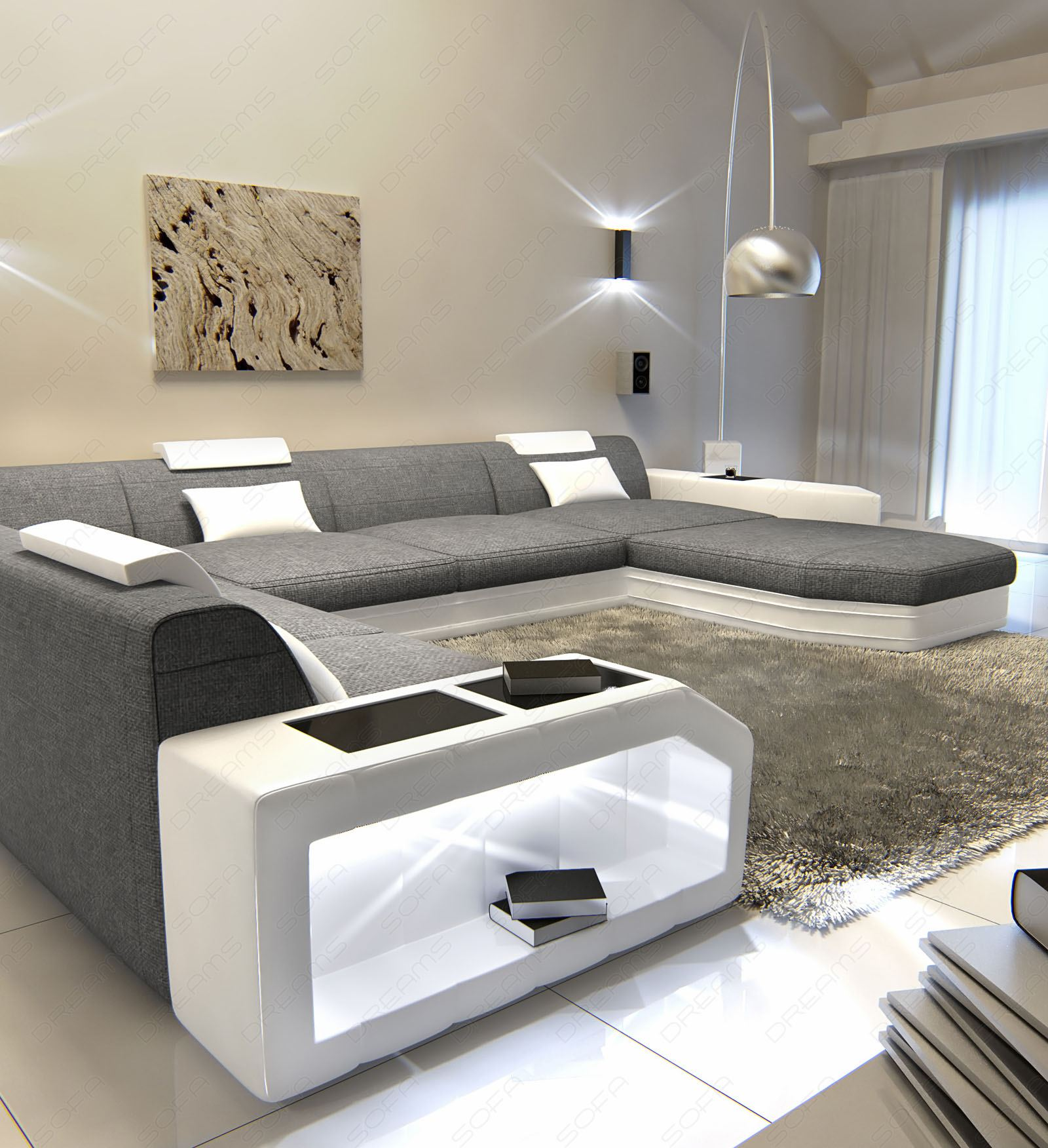 stoff wohnlandschaft polstersofa couch prato xxl led. Black Bedroom Furniture Sets. Home Design Ideas
