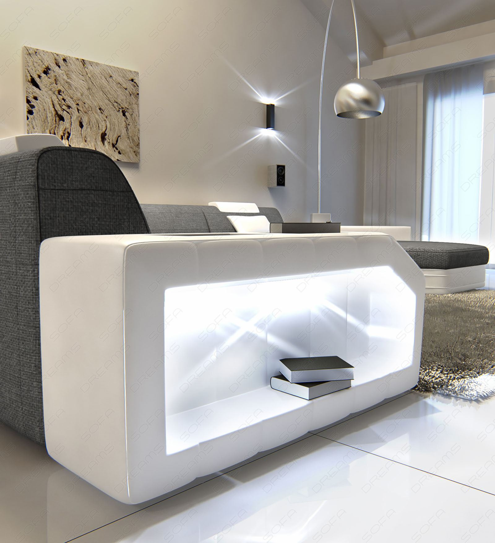 Fabric Interior Design Upholstered Couch Sofa Prato Xxl Led Textured White Grey Ebay