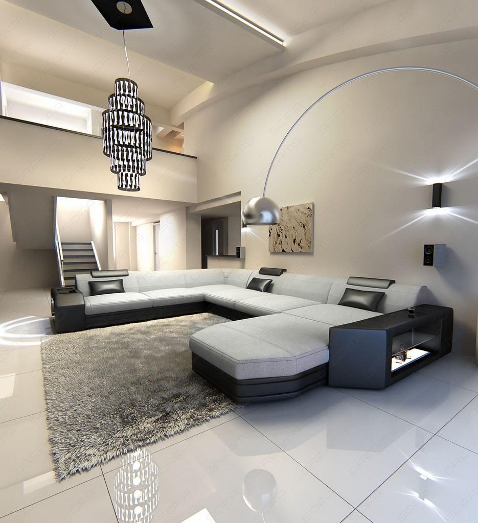 ecksofa stoff wohnlandschaft prato xl materialmix. Black Bedroom Furniture Sets. Home Design Ideas