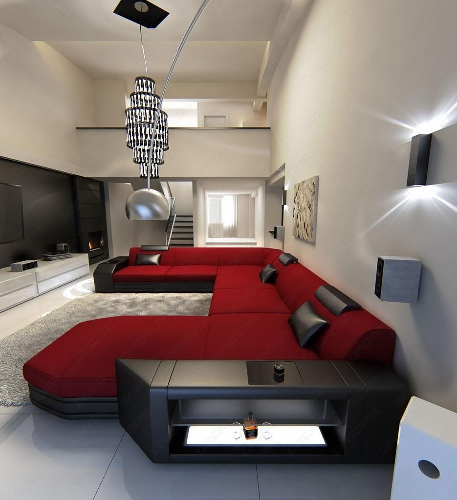 ecksofa stoff wohnlandschaft prato xxl materialmix schwarz rot ebay. Black Bedroom Furniture Sets. Home Design Ideas