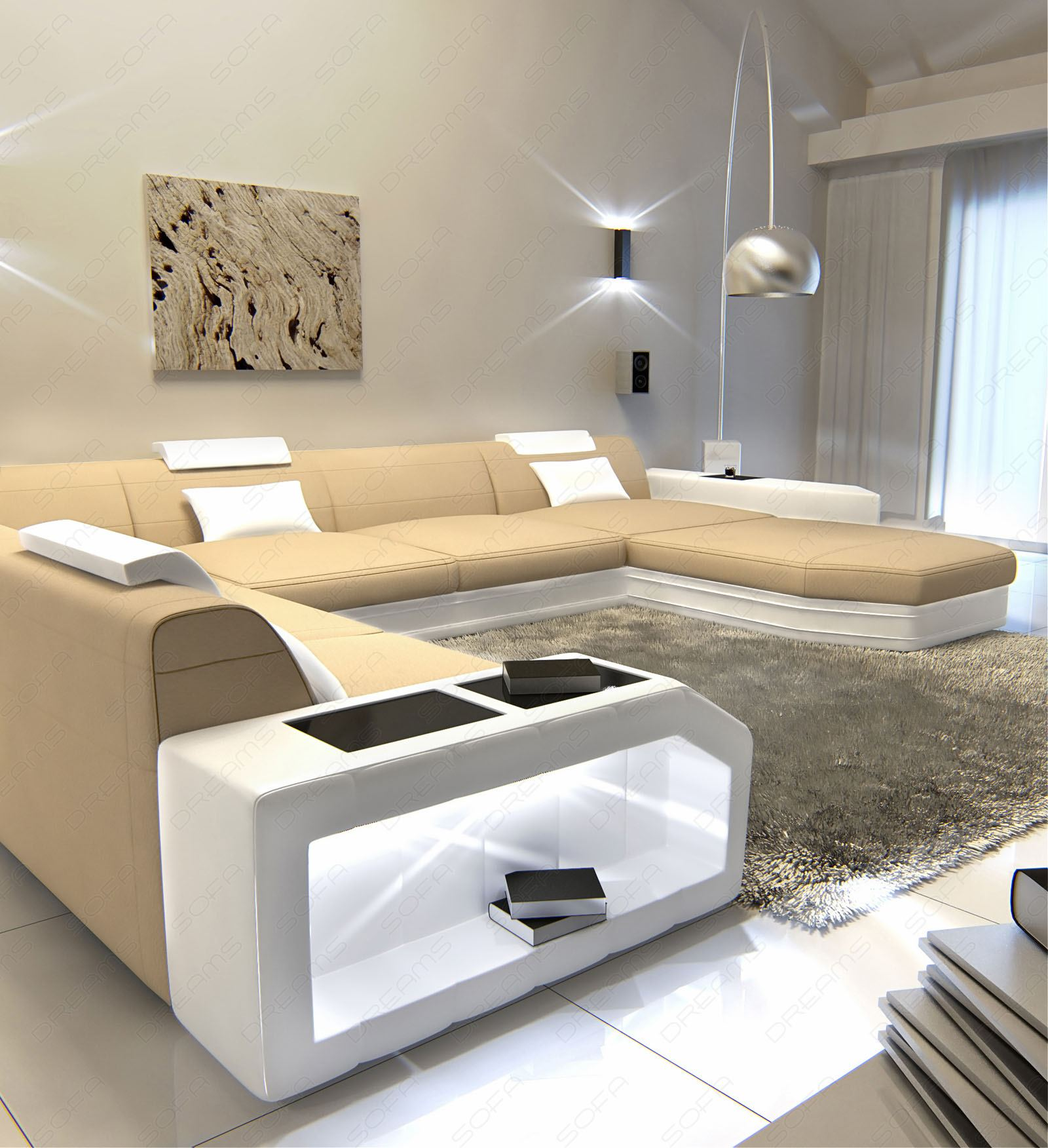 livingroom landscape prato u shaped fabric sofa white beige ebay. Black Bedroom Furniture Sets. Home Design Ideas