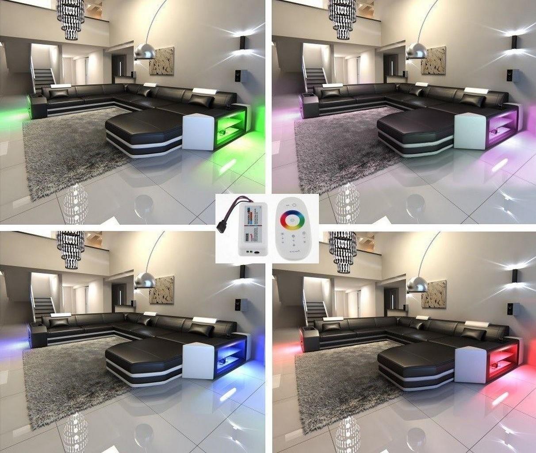 modern leather sectional sofa prato l shaped with led lights. Black Bedroom Furniture Sets. Home Design Ideas