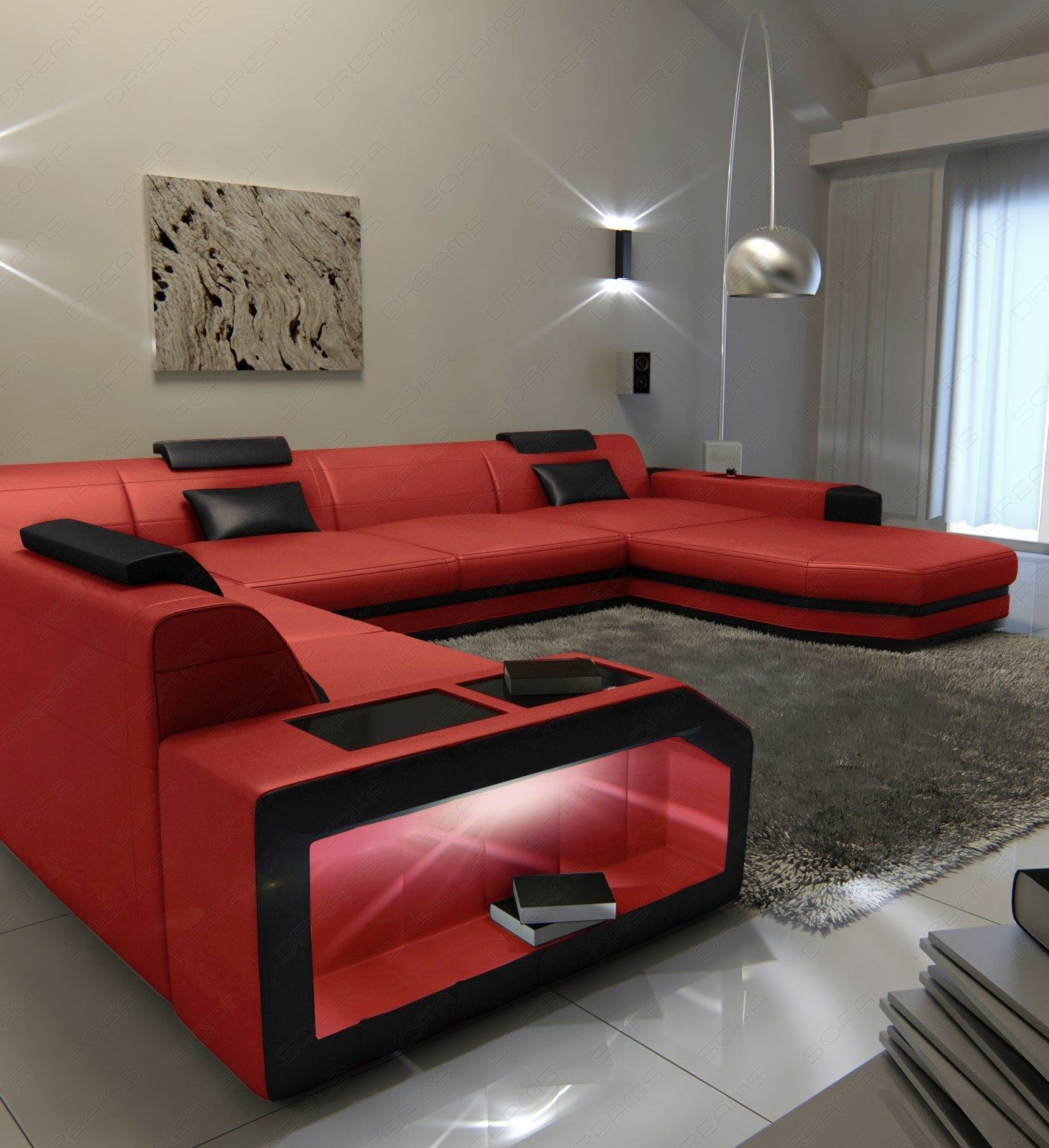big sectional leather sofa prato xxl with led lights. Black Bedroom Furniture Sets. Home Design Ideas