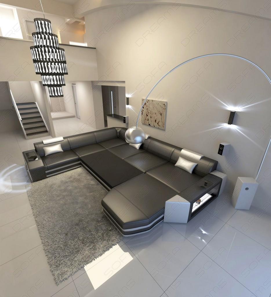 Upholstered Sofa Mega Living Environment Prato Xxl Designsofa With Led Ottoman Ebay