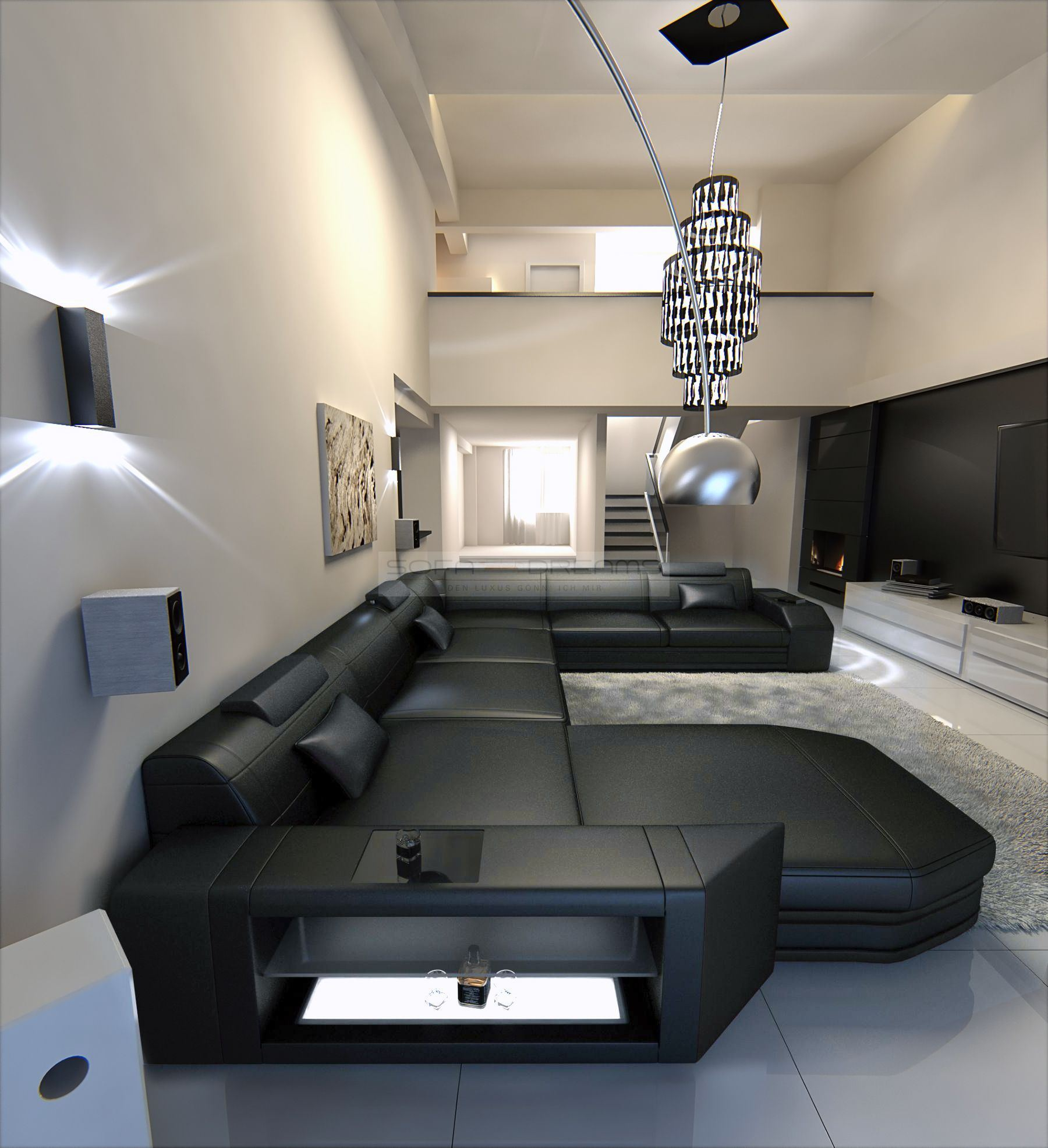big sectional sofa prato xxl with led lights leathersofa black black ebay. Black Bedroom Furniture Sets. Home Design Ideas