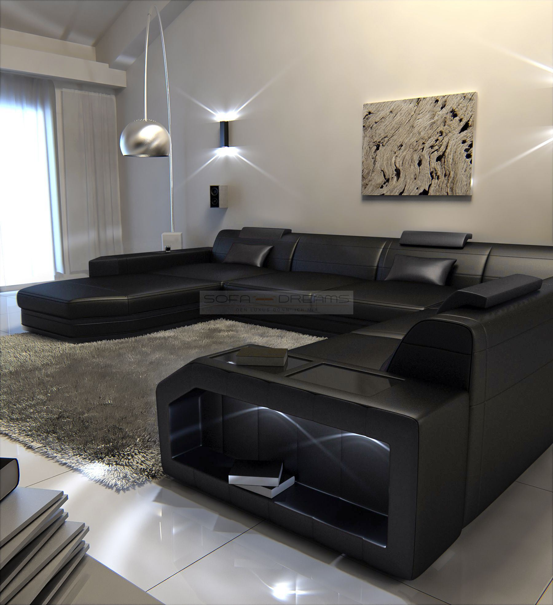 big sectional leather sofa prato xxl with led lights remote european style ebay. Black Bedroom Furniture Sets. Home Design Ideas