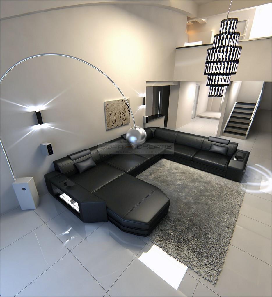 big sectional sofa prato xxl with led lights leathersofa. Black Bedroom Furniture Sets. Home Design Ideas