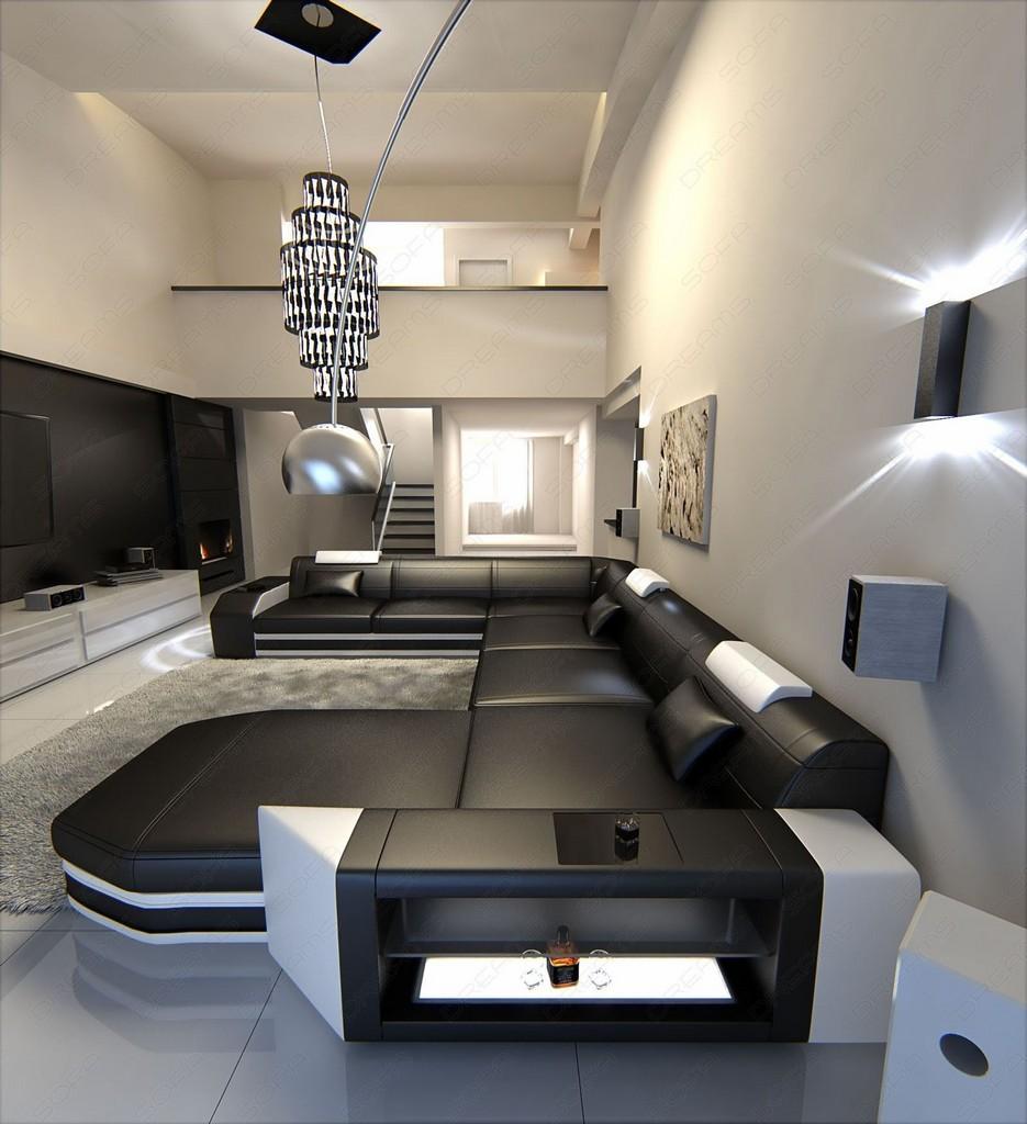 Big sectional leather sofa prato xxl with led lights for Wohnlandschaft sofa