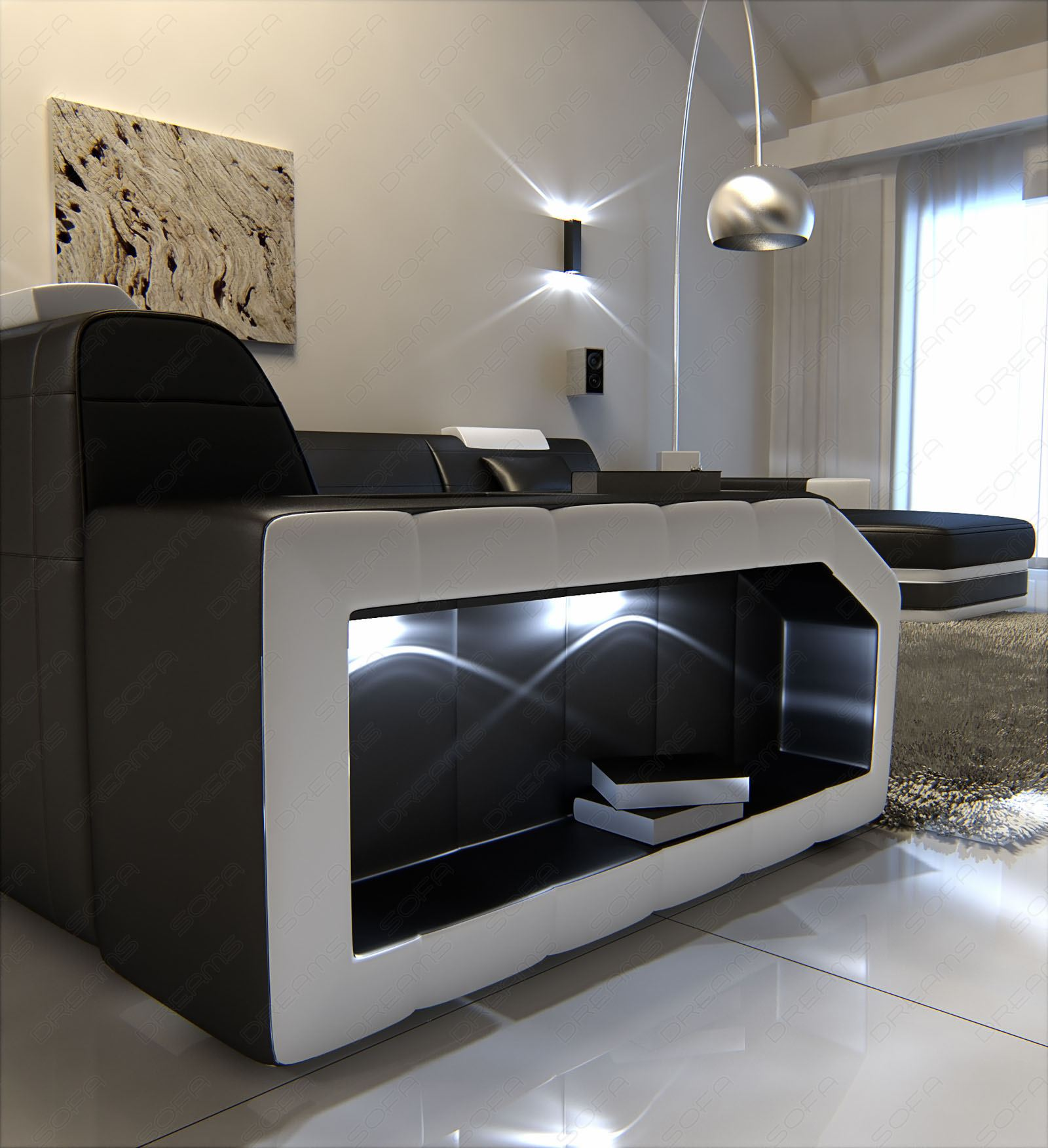 mega interior design prato leather couch with lighting black white. Black Bedroom Furniture Sets. Home Design Ideas