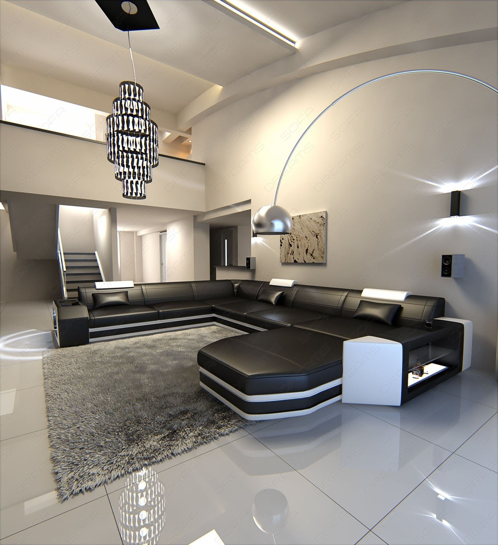 big sectional sofa prato xxl with led lights leathersofa black white ebay. Black Bedroom Furniture Sets. Home Design Ideas