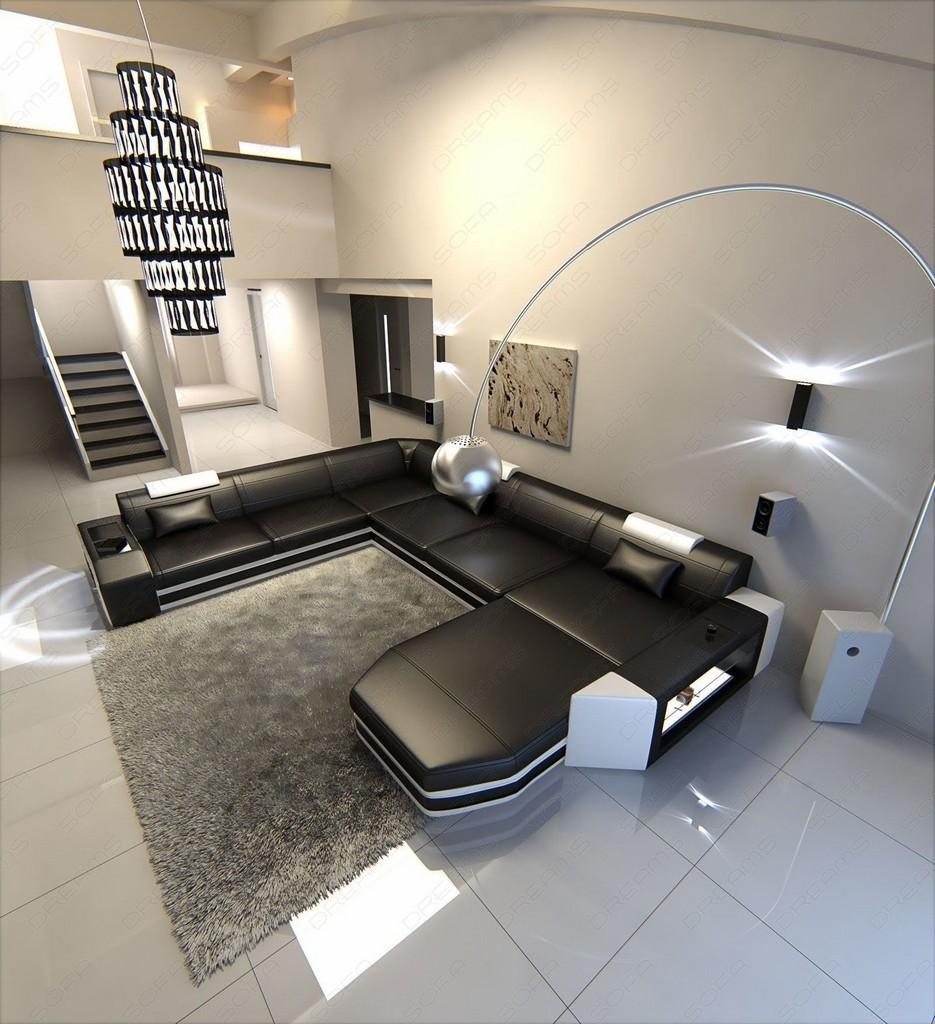 sofa wohnlandschaft xxl couch ecksofa prato luxus sofa garnitur couchtisch leds ebay. Black Bedroom Furniture Sets. Home Design Ideas