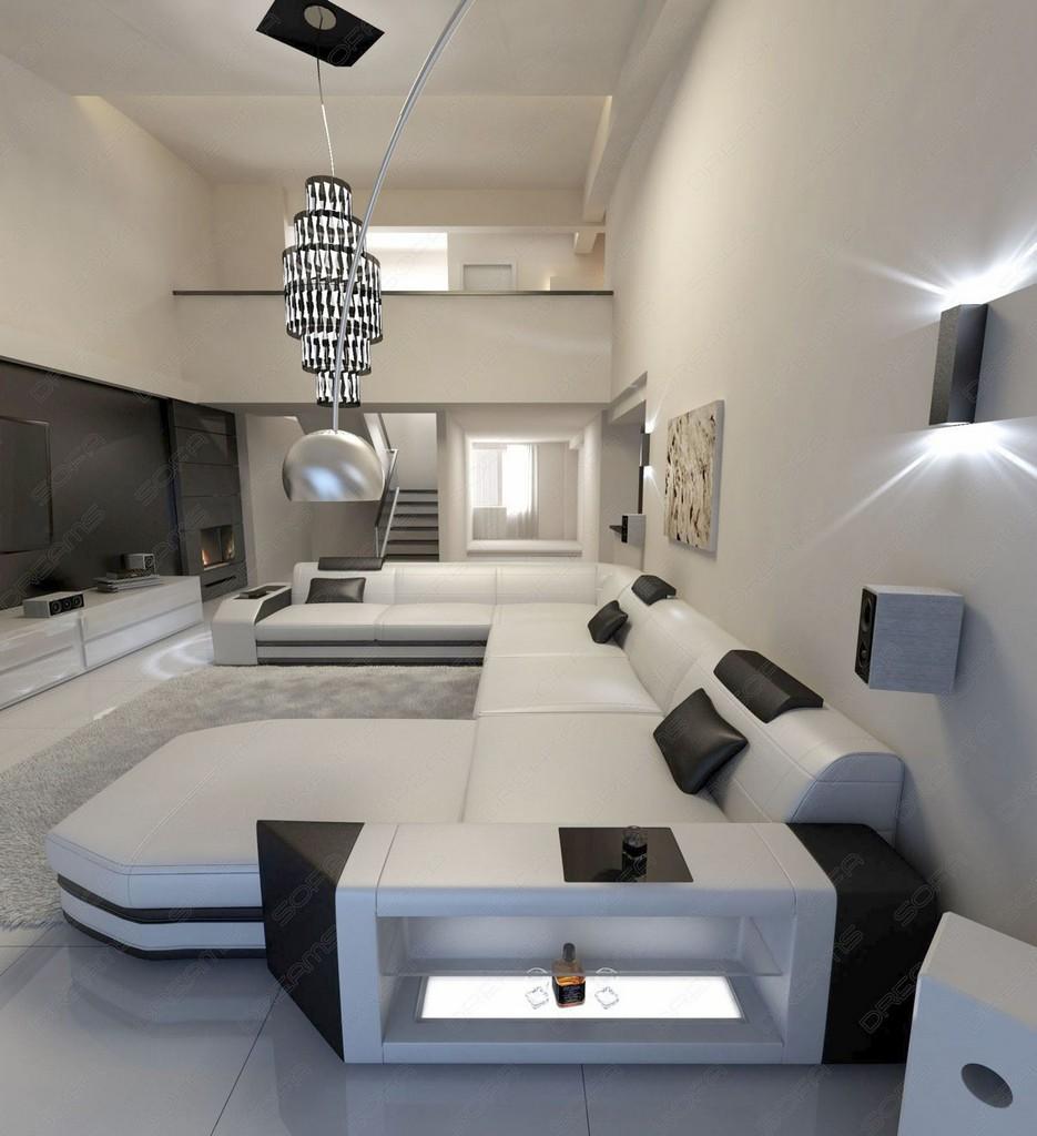 megasofa wohlandschaft prato xxl ledersofa mit led beleuchtung weiss schwarz ebay. Black Bedroom Furniture Sets. Home Design Ideas