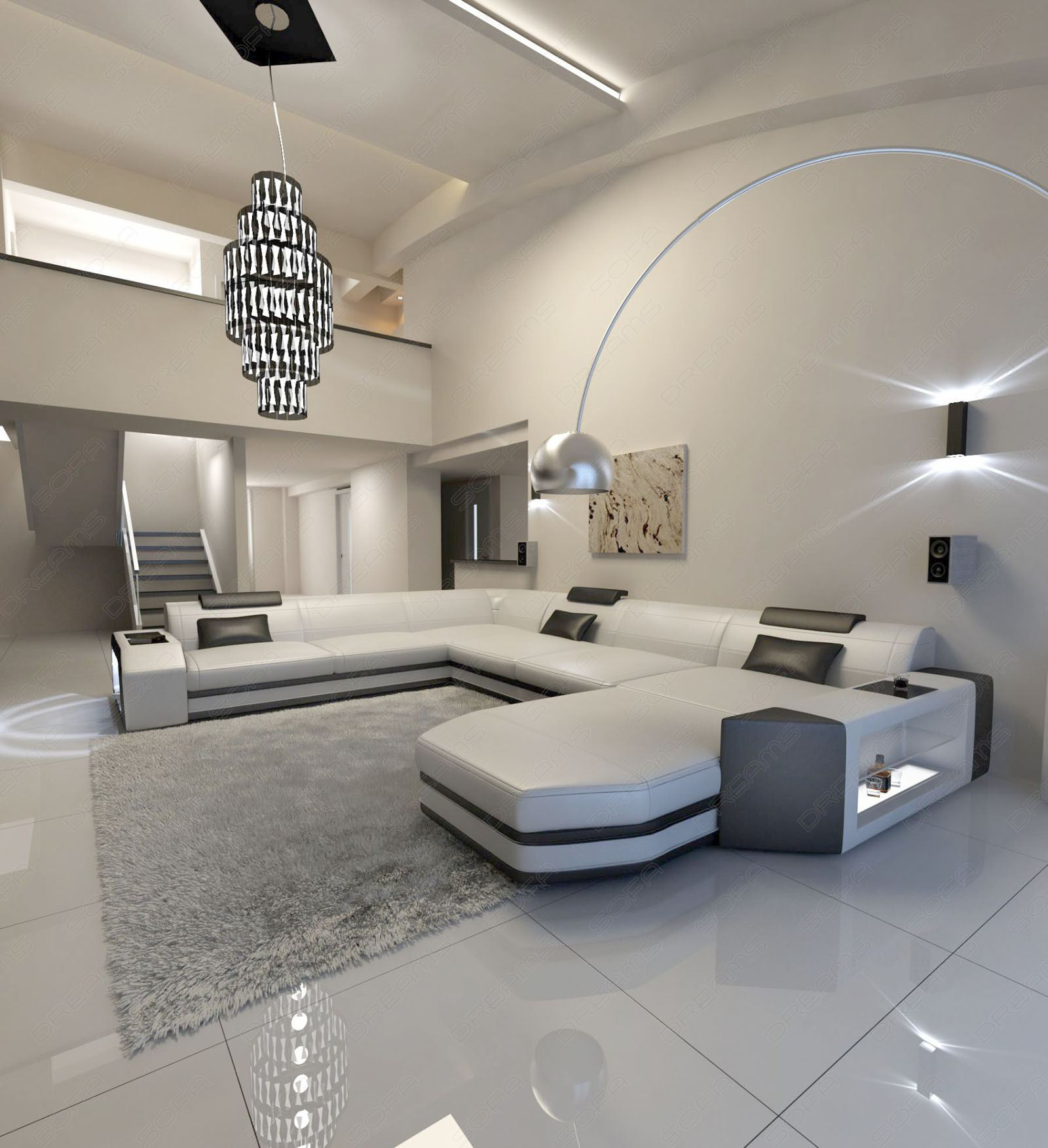 big sectional sofa prato xxl with led lights leathersofa white black ebay. Black Bedroom Furniture Sets. Home Design Ideas