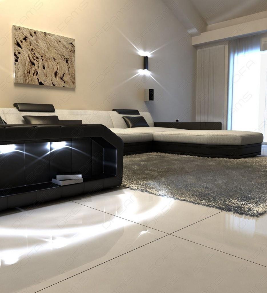wohnlandschaft presto u form beige sofa ecksofa mit led. Black Bedroom Furniture Sets. Home Design Ideas