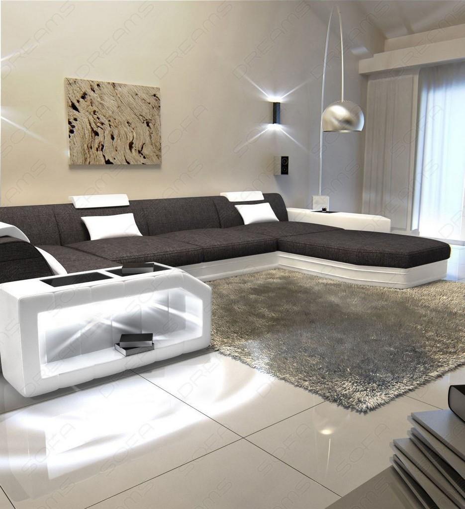 stoffsofa presto u form grau ecksofa mit led beleuchtung im materialmix ebay. Black Bedroom Furniture Sets. Home Design Ideas