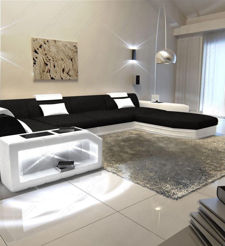 wohnlandschaft presto u form schwarz ecksofa mit led beleuchtung materialmix ebay. Black Bedroom Furniture Sets. Home Design Ideas
