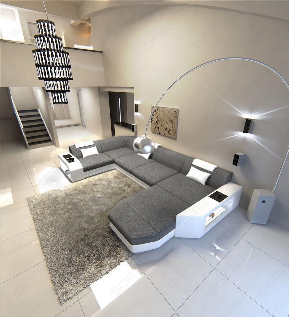 Stoffsofa presto u form hellgrau ecksofa design sofa led for Design couchtisch fabric