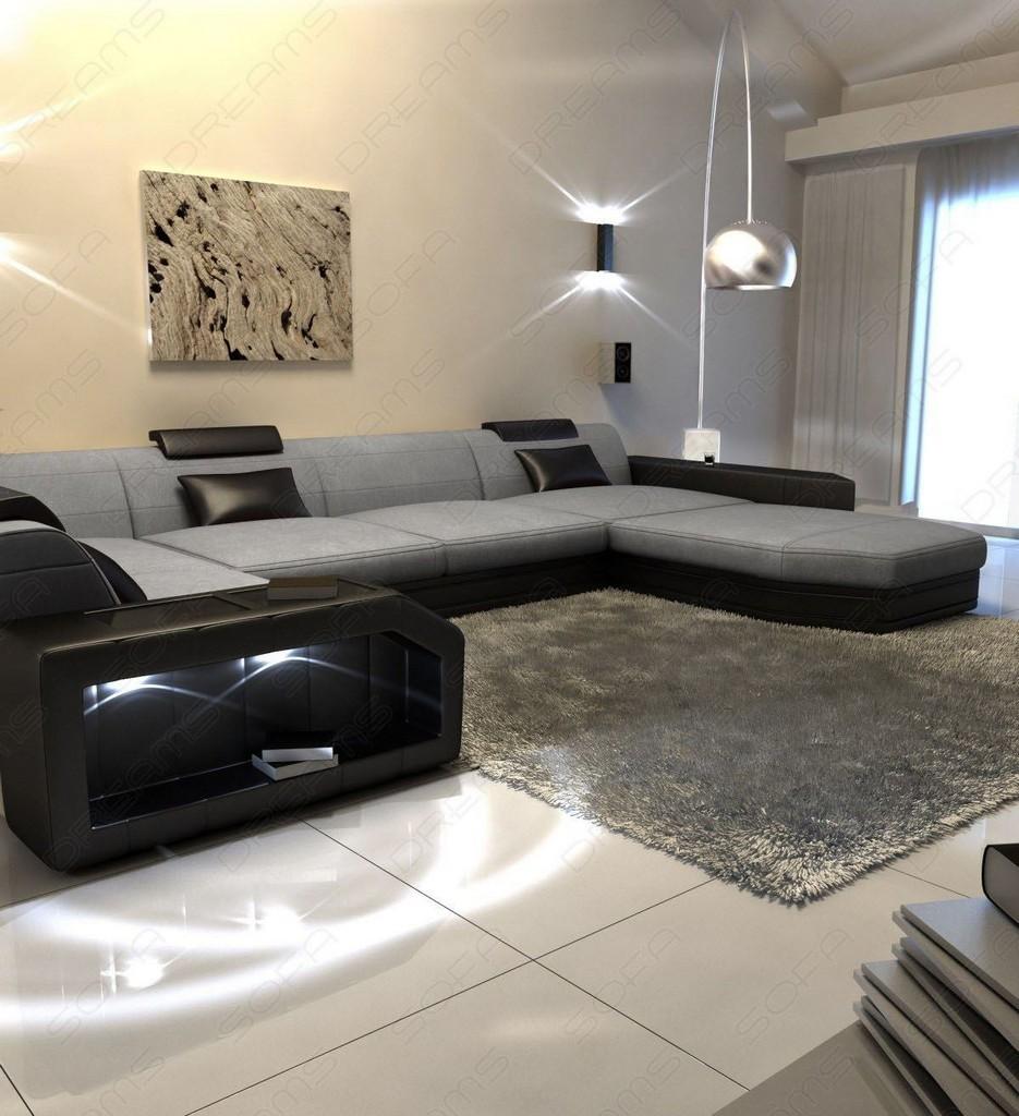 wohnlandschaft presto u form grau ecksofa mit led. Black Bedroom Furniture Sets. Home Design Ideas