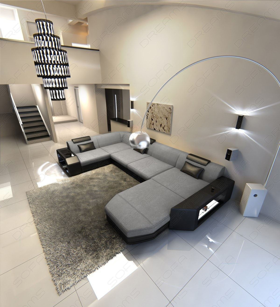 fabric sofa corner presto u shaped mix led lighting luxury. Black Bedroom Furniture Sets. Home Design Ideas