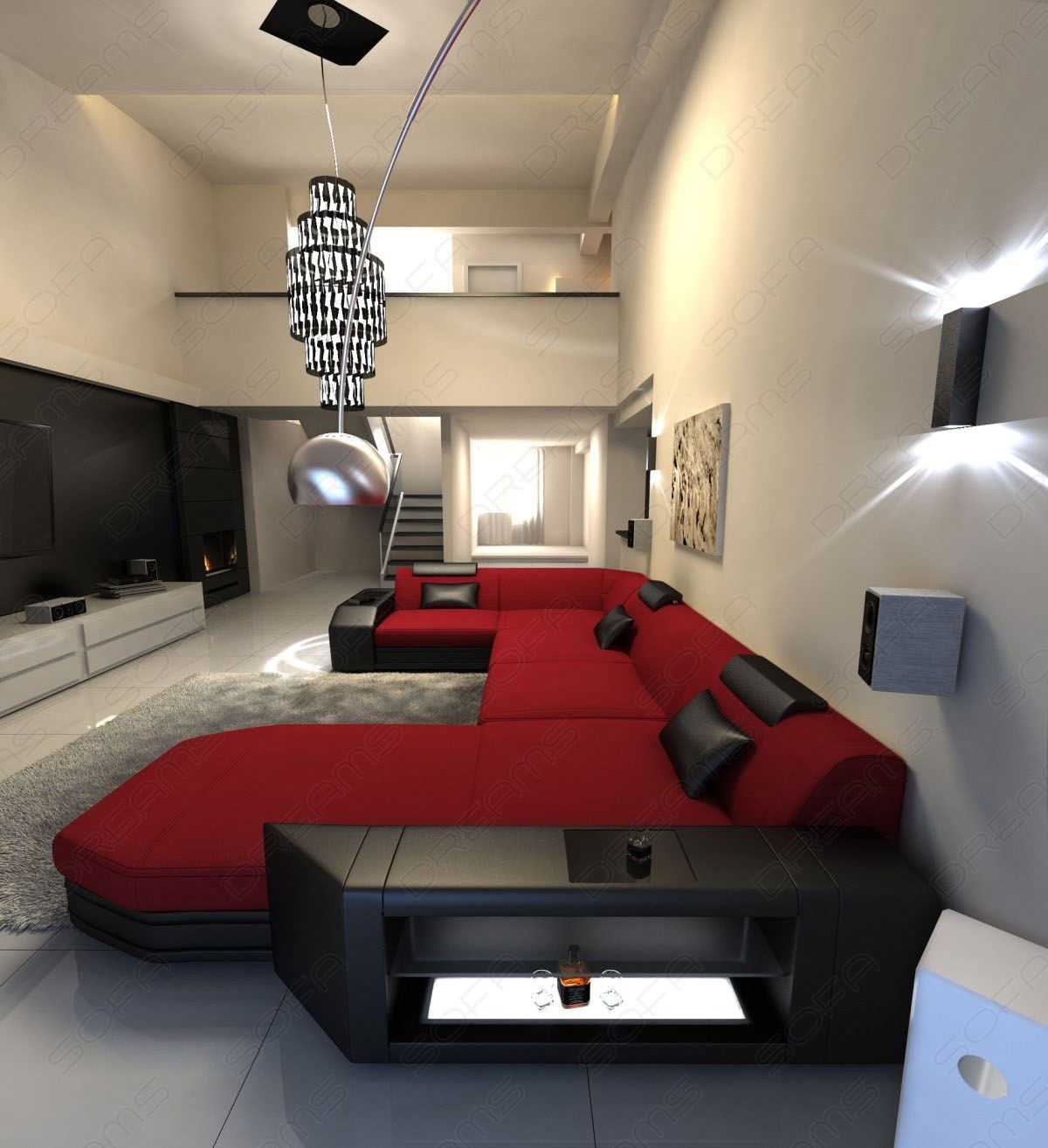 stoffsofa presto design couch ecksofa mit ottomane und led beleuchtung in rot ebay. Black Bedroom Furniture Sets. Home Design Ideas